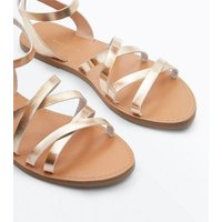 Gold Metallic Gladiator Flat Sandals New Look