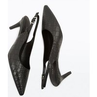 Black Faux Croc Kitten Heel Slingbacks New Look