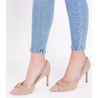 Nude Suedette Clear Panel Pointed Courts New Look