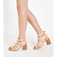 Camel Stud Trim Block Heel Gladiator Sandals New Look