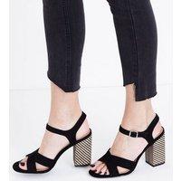 Black Suedette Woven Block Heel Sandals New Look