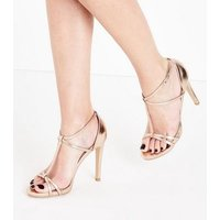 Rose Gold Metallic T-Bar Stiletto Sandals New Look