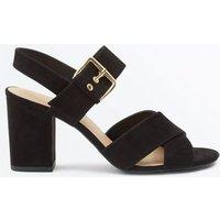 Black Suedette Buckle Strap Block Heels New Look