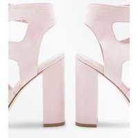Nude Suedette Lace Up Cut-Out Block Heels New Look