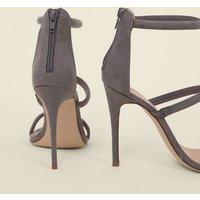 Grey Suedette Triple Tube Strap Stiletto Heels New Look