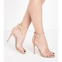 Nude Suedette Buckle Strap Barely There Heels New Look