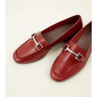 Red Leather Bar Front Loafers New Look