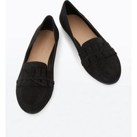 Black Suedette Frill Tie Trim Loafers New Look