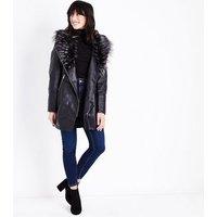 Black Leather-Look Faux Fur Collar Longline Jacket New Look