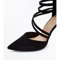 Wide Fit Black Suedette Asymmetric Strap Pointed Heels New Look