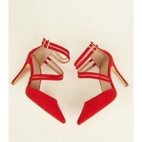 Wide Fit Red Suedette Asymmetric Strap Pointed Heels New Look
