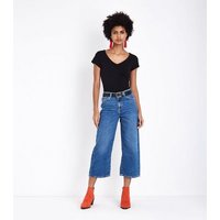 Blue Cropped Wide Leg Jeans New Look