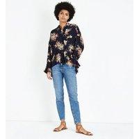 blue-vanilla-navy-floral-tie-tassel-waist-shirt-new-look
