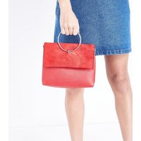 Red Leather-Look Ring Handle Shoulder Bag New Look