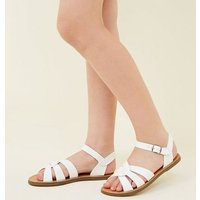 Teens White Cross Strap Caged Flat Sandals New Look