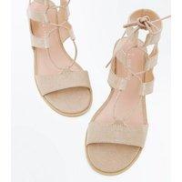 Wide Fit Brown Suedette Low Heel Ghillie Sandals New Look