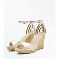 Wide Fit Gold Cage Back Cork Wedges New Look