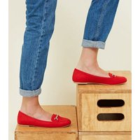 Red Suedette Bar Front Loafers New Look