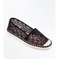 Wide Fit Black Crochet Espadrilles New Look