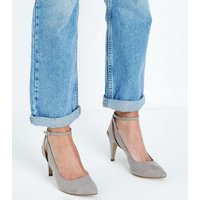 Grey Suedette Cut-Out Ankle Strap Courts New Look