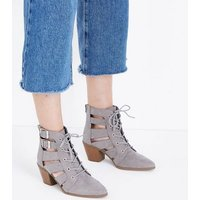 Grey Cut Out Lace-Up Heeled Boots New Look