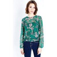 Green Floral Mesh Shirred Hem Top New Look