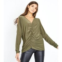Khaki Ruched Front Cold Shoulder Top New Look