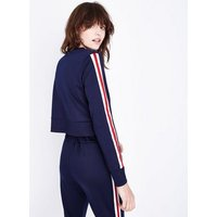 cameo-rose-navy-stripe-sleeve-sweatshirt-new-look
