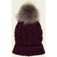 Dark Purple Cable Knit Bobble Hat New Look