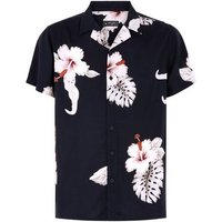 Black Large Floral Print Short Sleeve Shirt New Look