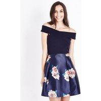 AX Paris Blue Floral 2 in 1 Bardot Neck Dress New Look