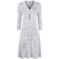Blue Vanilla Grey Marl Zip Front Swing Dress New Look