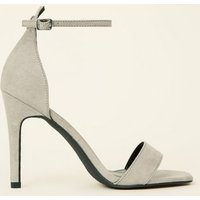 Grey Suedette Square Toe Two Part Sandals New Look
