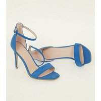 Blue Suedette Square Toe Two Part Sandals New Look