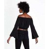 Black Bell Sleeve Bardot Crop Top New Look