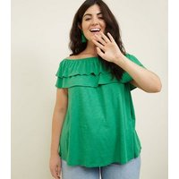 Curves Green Ruffle Bardot Neck Top New Look