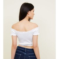 Petite White Shirred Bardot Crop Top New Look