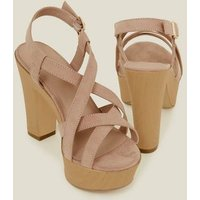 Wide Fit Nude Suedette Wood Platform Block Heels New Look