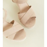Wide Fit Nude Cleated Wedge Sandals New Look