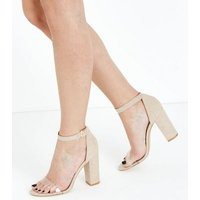 Wide Fit Nude Suedette Clear Strap Heels New Look