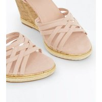 Wide Fit Cream Cross Strap Wedges New Look