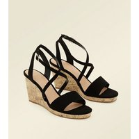 Wide Fit Black Suedette Strappy Cork Wedges New Look