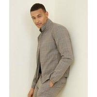 Men's Grey Check Harrington Jacket New Look