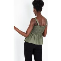Khaki Shirred Peplum Hem Cami New Look