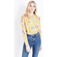 Yellow Floral Wrap Front Bodysuit New Look