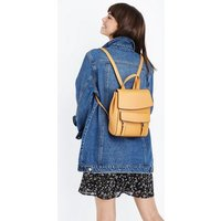 Mustard Leather-Look Structured Backpack New Look