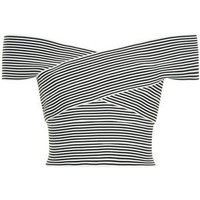 Black Stripe Bandage Bardot Top New Look