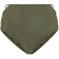 Khaki Eyelet Lattice Side High Waist Bikini Bottoms New Look