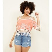Coral Crochet Trim Cold Shoulder Top New Look