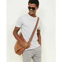 Tan Leather-Look Messenger Bag New Look